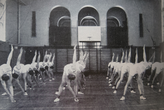 "1946 - Photograph of RCMP Recruits in the Gym at ""Depot"" Division (Source of photo - RCMP Quarterly)."