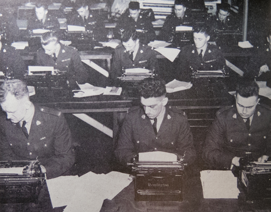 "1946 - Photograph of RCMP Recruits taking a typing class at ""Depot"" Division (Source of photo - RCMP Quarterly)."