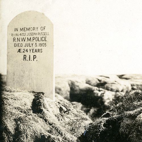 Photograph of the original grave marker for