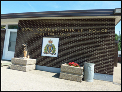 Photograph of the current front of the RCMP Police Service Dog Training Centre (Source of photo - Ric Hall's Photo Collection).