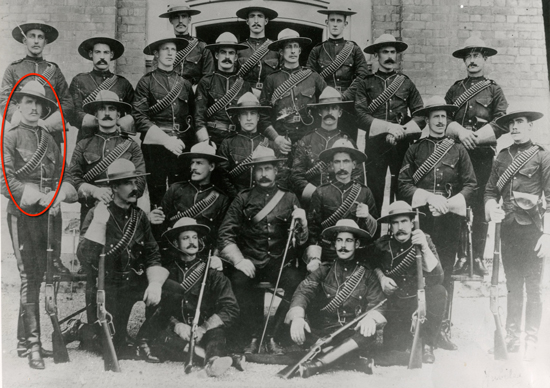 """1897 - Photograph of the NWMP members who attended Queen Victoria's Diamond Jubilee celebrations in London England. Sergeant Walter de Rossiter is shown in this group circled in red (Source of photo - RCMP Historical Collection Unit - """"Depot"""" Division)."""