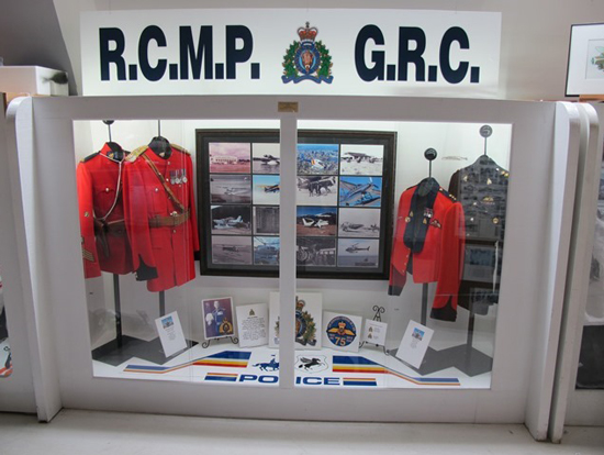 Photograph of the RCMP Air Services display at the Canadian Museum Of Flight (Source of photo - Dennis Ratcliffe).