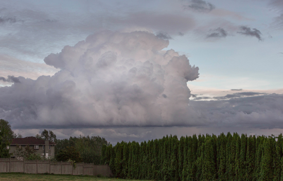 One of many storm clouds that delivered high winds and rain on the lower mainland of British Columbia.