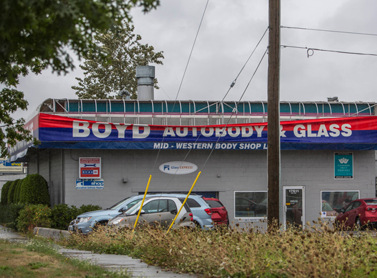 August 29, 2015 - Photograph of minor damage wind damage to a local business in Cloverdale BC.