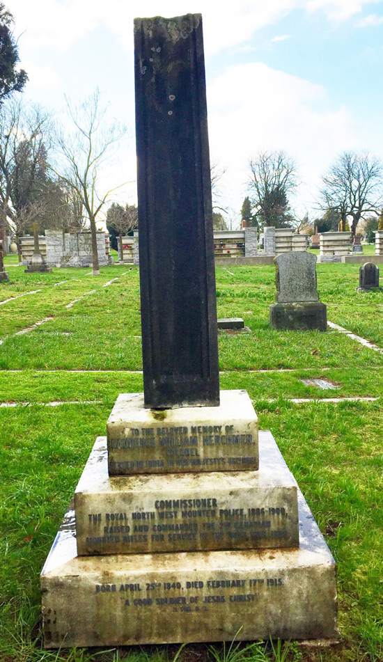 Photograph of the grave marker for former Commissioner Laurence Herchmer. Note that the top of the marker has been broken off. Photo taken by Veteran Steve Gibson.