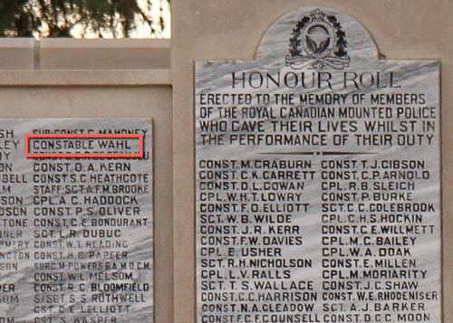 "Photograph of the RCMP Cenotaph at ""Depot"" Division in Regina with the name of Constable Wahl highlighted in red (Source of photo - Sheldon Boles)"