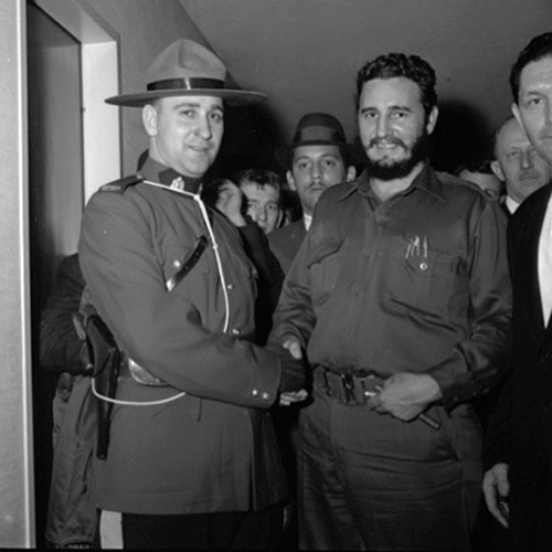 Photograph of Cuban President Fidel Castro photographed with an unknown RCMP member (Source of photo - Ric Hall's Photo Collection).