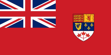 Image of the last version of the Canadian Red Ensign 1957 - 1965 (Source of image - Ric Hall's Photo Collection)