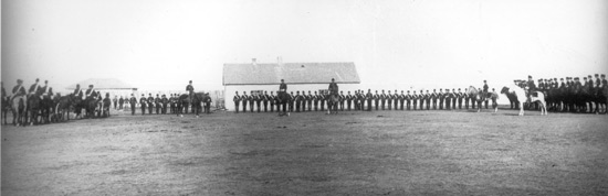 August 1885 - NWMP members at Fort. Battle ford.