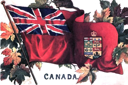 Photograph of the version of the Red Ensign from 1868 to 1921 as the unofficial flag of Canada (Source of image - Ric Hall's Photo Collection).