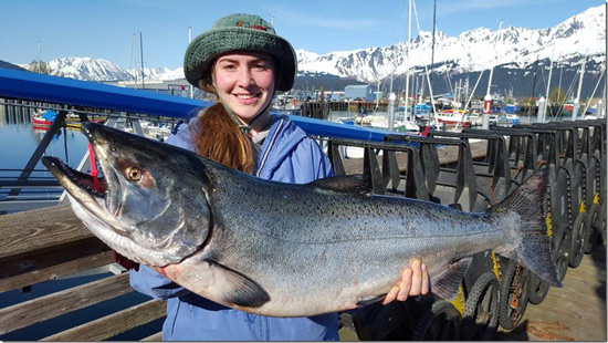 Photograph of Alaska Salmon - 42 pounds - taken by Phil Juby