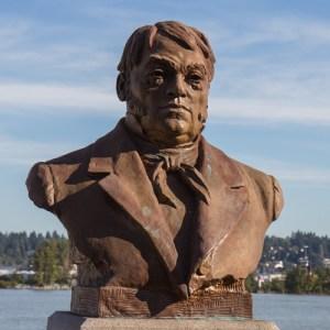 Bust of Simon Fraser in New Westminster on the banks of the Fraser River