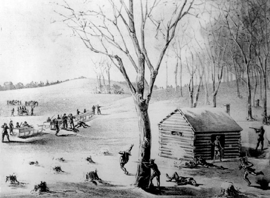 illustration of the battle at Duck Lake.