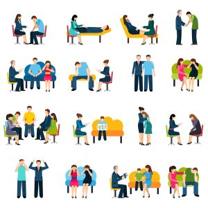 Psychologist counseling and support group for work stress related disorders flat icons set abstract isolated vector illustration