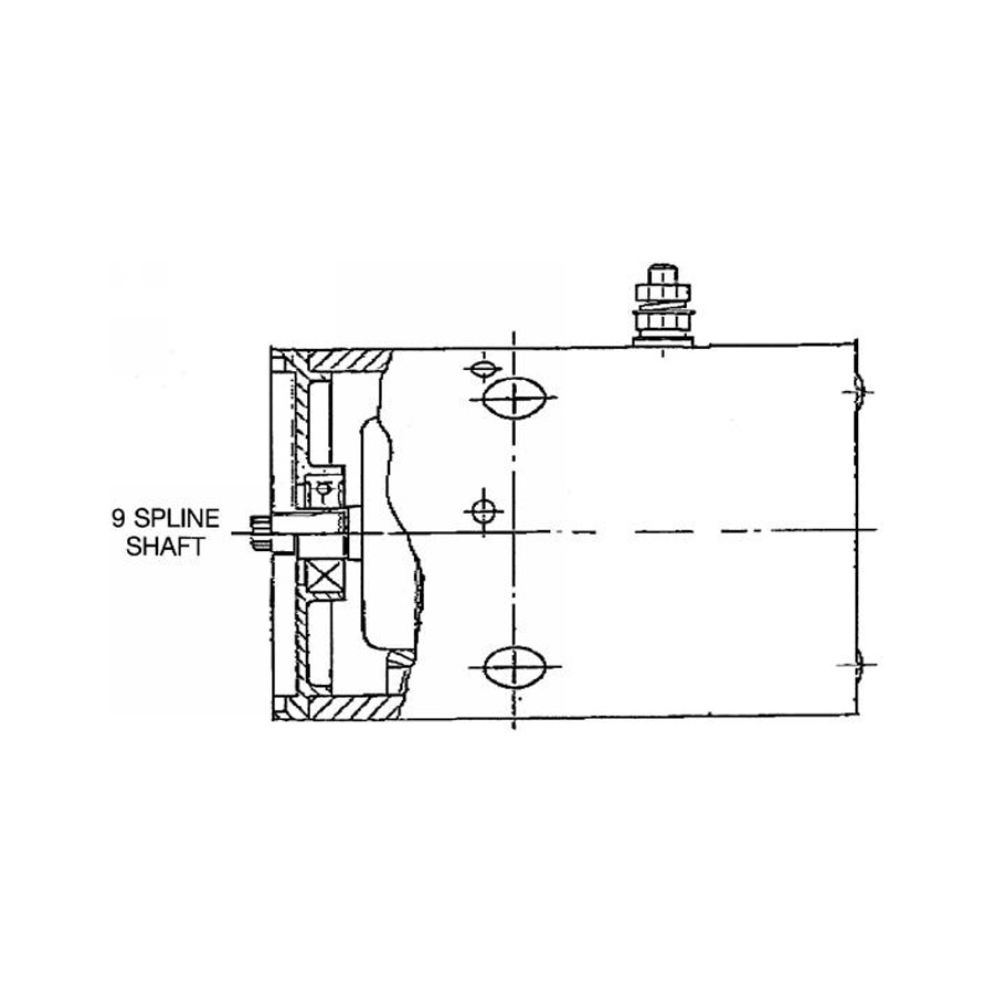 Buyers M3400 12V Clockwise DC Motor with 9 Spline Output