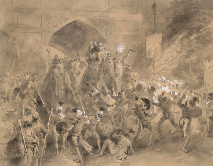 Sydney P Hall painting of Jaipur Procession