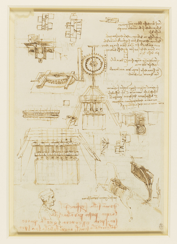 Recto: Studies for casting apparatus, and miscellaneous notes. Verso: Further casting studies, and lines of poetry