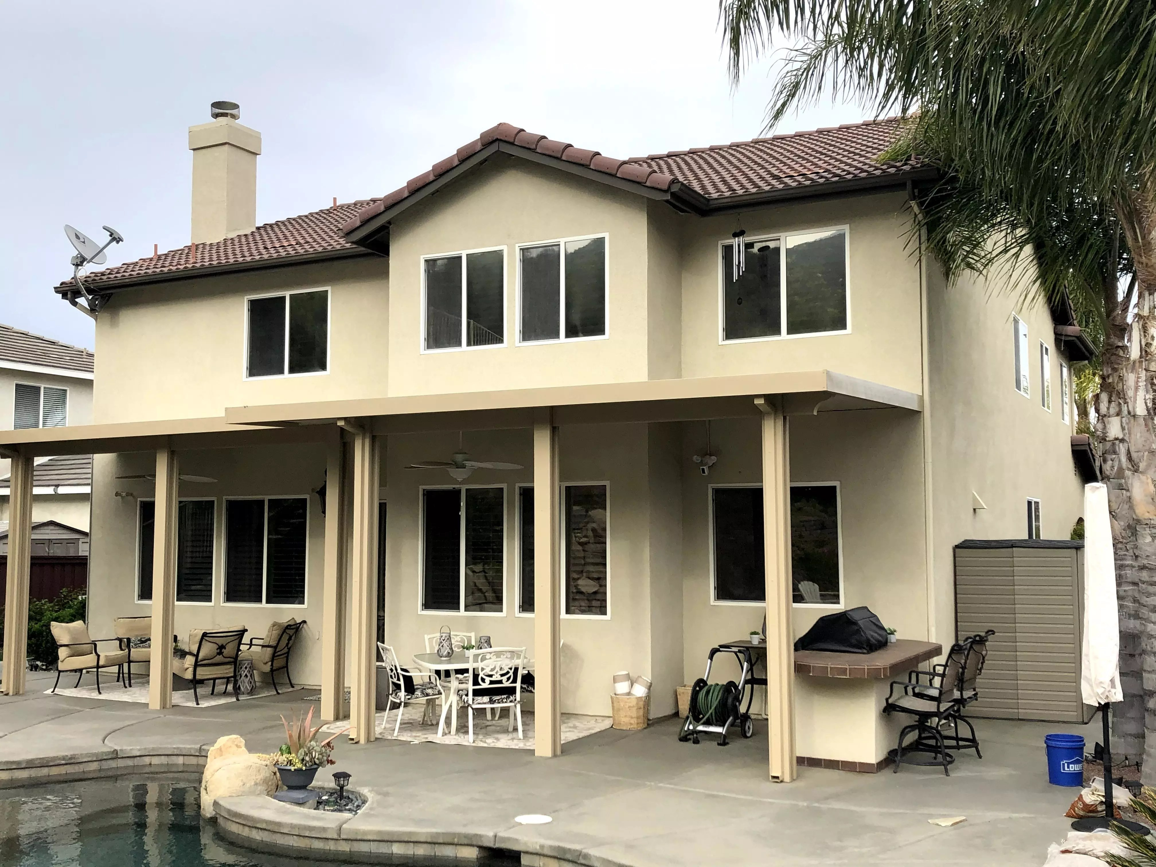 Dual Reflective Window film installation on a home in murrieta ca | Home window tinting murrieta