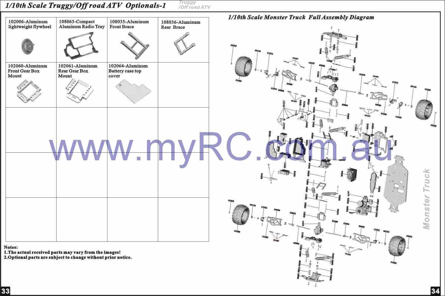 Himoto Hsp Nitro Monster Truck Parts List 11