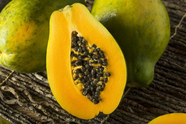 Raw Organic Green Hawaiian Papaya Ready to Eat