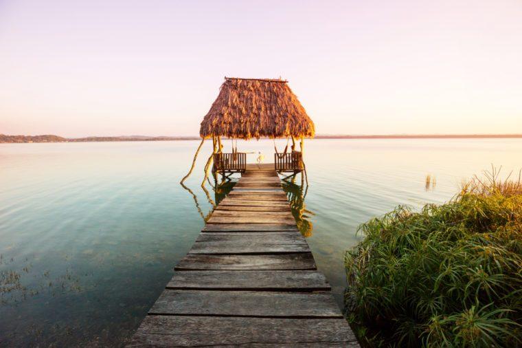 Sunset scene at the lake Peten Itza, Guatemala. Central America.