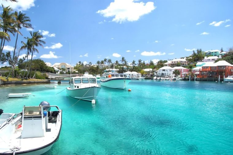 Yacht boats on blue sea water in tropical lagoon in Hamilton, Bermuda. Summer vacation and travelling. Luxury lifestyle concept