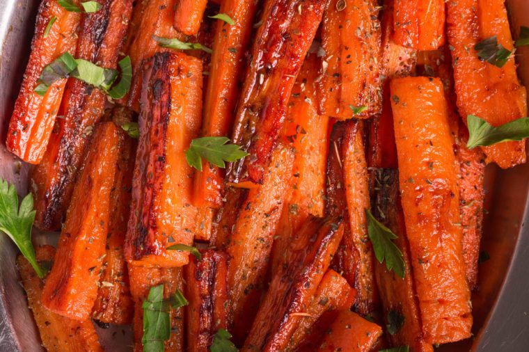 Roasted Carrots with fresh Parsley. Caramelized Carrots. A healthy carrot dish that is rich of vitamin A.