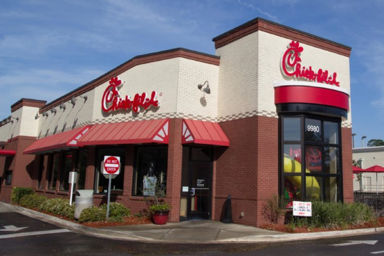 JACKSONVILLE, FL - MARCH 16, 2014: A Chick-fil-A fast food restaurant in Jacksonville. Chick-fil-A, specializing in chicken sandwiches, has over 1,700 restaurants in the United States.