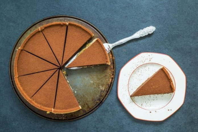 dark chocolate tort perfectly sliced for sharing