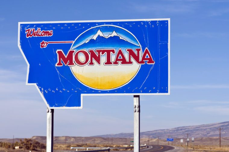 The welcome sign at the Montana state line.