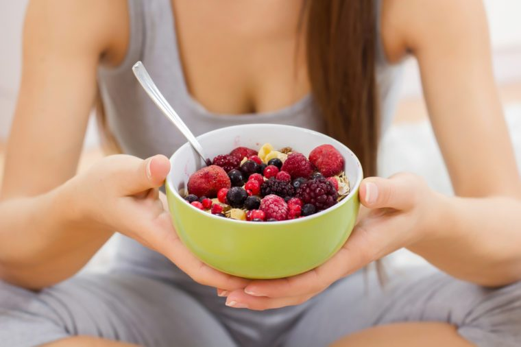 Cereal Mueasli Healthy Food with fruits in bowl. Healthy and Dieting concept.