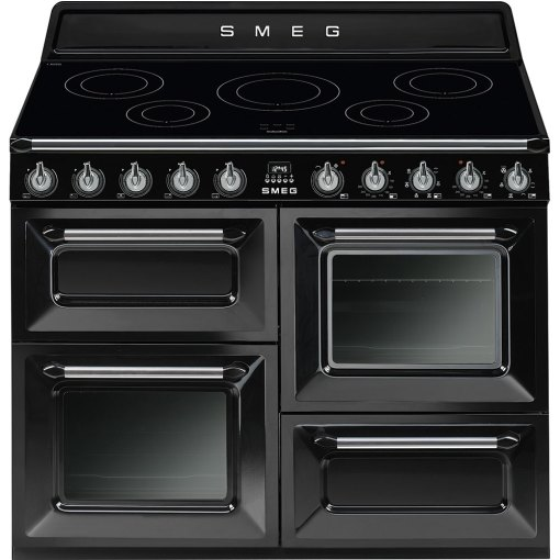 FREE STANDING COOKER 5 INDUCTION ZONES AND 3 OVENS BLACK 110 CMS SMEG TR4110IBL