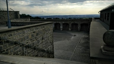 Near the entrance to Mauthausen Concentration Camp