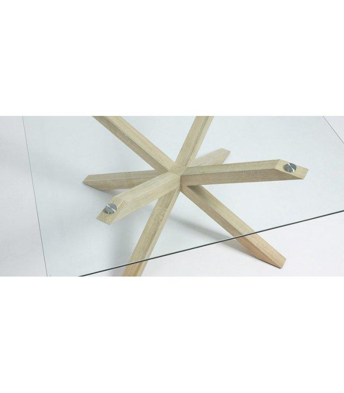 Mesa de comedor cuadrada AIRE con patas de madera y sobre de vidrio