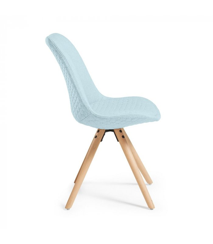 Silla de comedor azul claro acolchada con patas de madera
