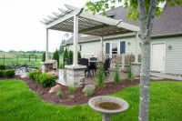 Pergola Over Paver Patio with Fire Pit - R&D Landscape
