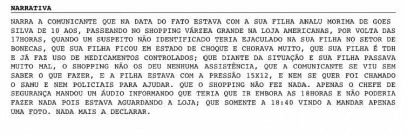 Boletim - homem ejacula em criança no shopping