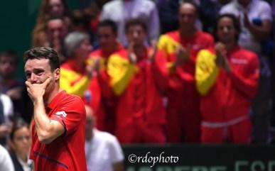 L'emozione di Roberto Bautista Agut Team Espana Davis Cup Madrid 2019 - foto di Roberto Dell'Olivo