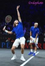 Stefanos Tsistispas e Roger Federer Team Europe Laver Cup 2019 Ginevra