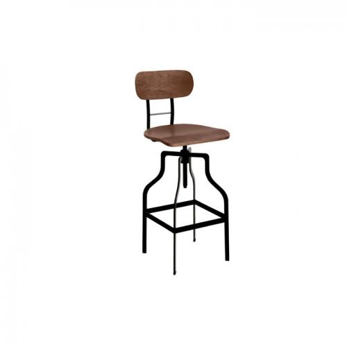 chaise de bar vintage a hauteur reglable en bois et metal style retro