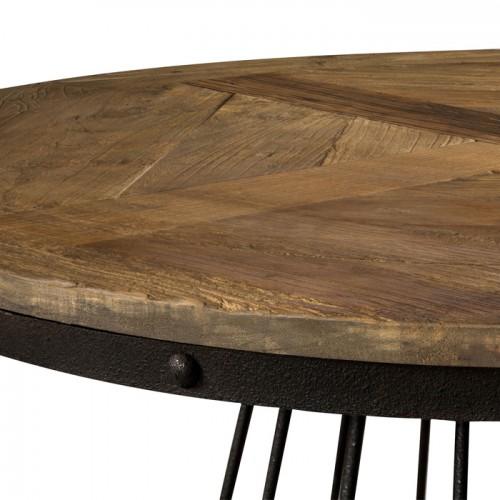 table ronde en bois et pied en metal 110 cm 5 personnes