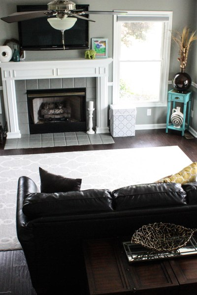 living room makeover before and after painted fireplace