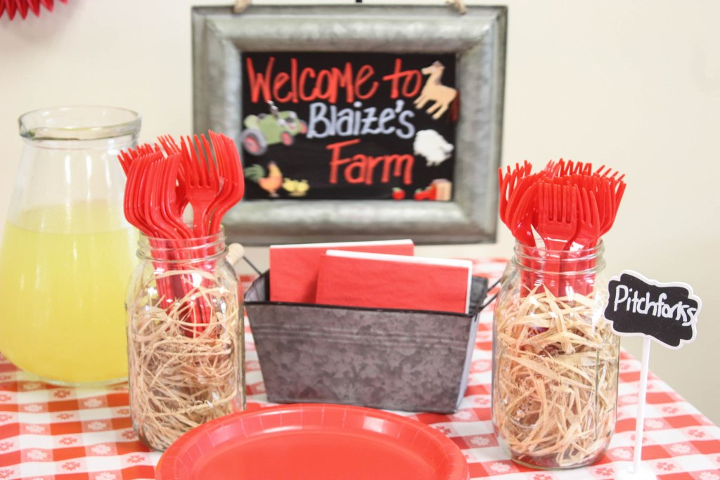 "Barnyard birthday party, serving center with forks labeled ""pitchforks"""