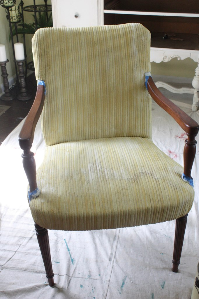 fabric painted chair with first coat of paint