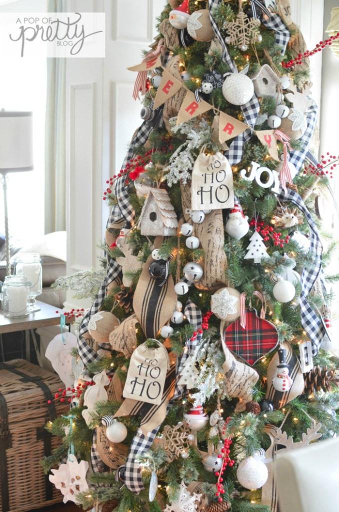 Burlap and Plaid Christmas Tree
