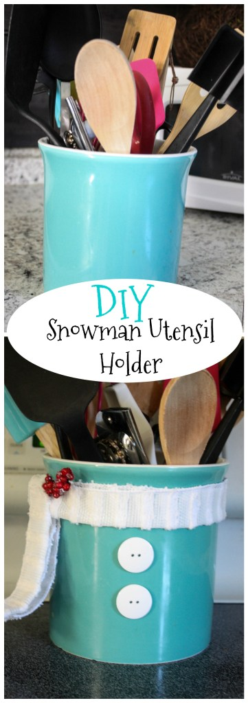 This snowman utensil holder is just a fun and easy little Christmas project that adds just the right amount of Christmas cheer to your kitchen this year! Check out this super easy tutorial!