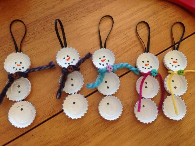 Bottle Cap Snowman Craft
