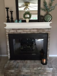 How to Whitewash Brick and Paint your Brassy Fireplace ...