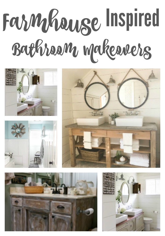 Gorgeous Farmhouse Inspired Bathroom Makeovers that are sure to make you swoon! Chalked full of DIY goodness!