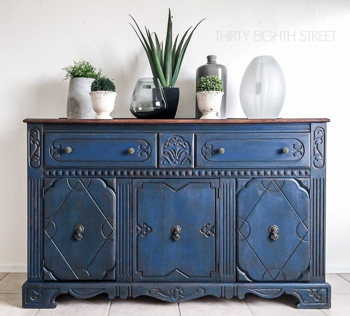 Blue Painted Buffet Makeover